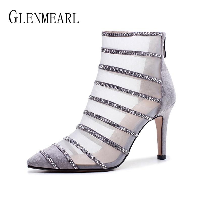 Gray Delle Sottili Boots Caviglia Gladiatore Di Della black Tacchi Donna De  Boots Scarpe Netti Autunno Cuoio Donne ... 65ae6ff1729