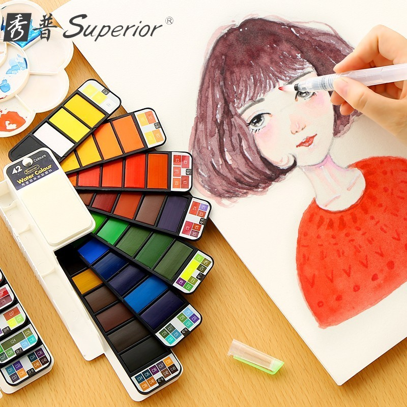 Superior 18/33/42 Portable Solid Watercolor Paint Set With Paintbrush Bright Color Painting Pigment Set For Student Art SuppliesSuperior 18/33/42 Portable Solid Watercolor Paint Set With Paintbrush Bright Color Painting Pigment Set For Student Art Supplies