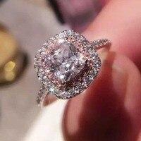 Victoria Wieck Fashion Jewelry Cushion Cut 2ct Simulated Diamond Pink Cz Wedding Band Ring For Women