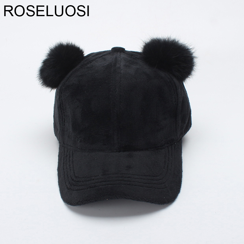 ROSELUOSI Women Winter Hat Cute Rabbit Fur Pom Poms Ear Black Fashion Baseball Cap Female Snapback Hats Bone Feminino new autumn winter warm children fur hat women parent child real raccoon hat with two tails mongolia fur hat cute round hat cap
