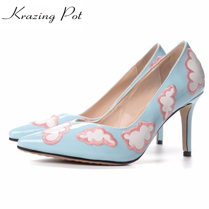 fashion big size brand cute party wedding shallow pointed toe high heels women pumps blue sky and white clouds pattern shoes l04