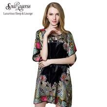 SpaRogerss Прямых Продаж Лето Стиль Женщины Пижама 2017 Искусственный Шелк Мать Ночные Рубашки Дамы Плюс Размер Ночные Рубашки XXL 10255(China (Mainland))