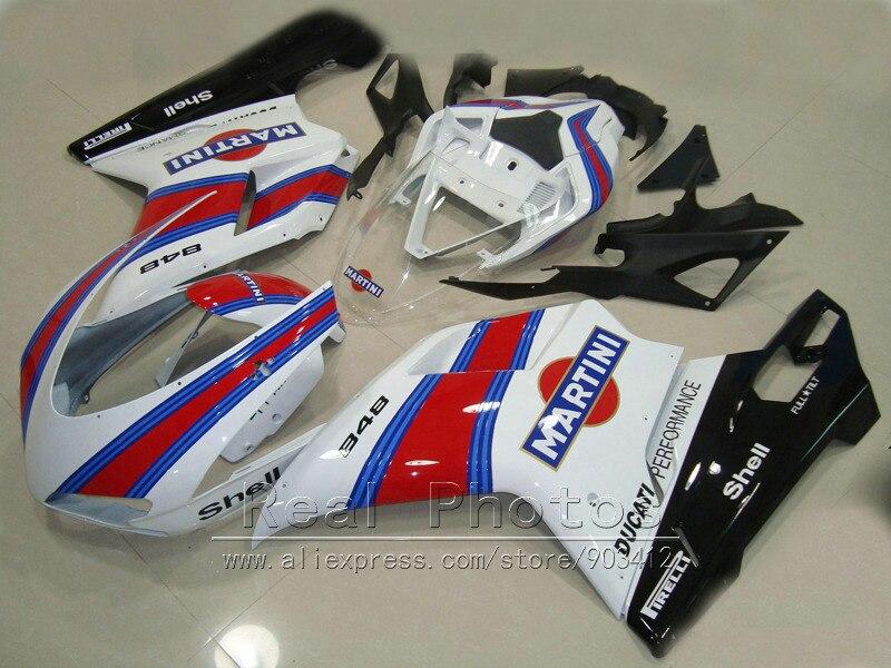 De moulage par compression carénage kit pour Ducati 848 1098 1198 07 08 09 10 11 blanc noir rouge carénages set 848 1198 2007-2011 AS18