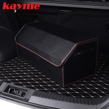 Kayme car trunk organizer box storage bag auto trash tool bag 2016 new car organizador High-grade microfiber leather folding box