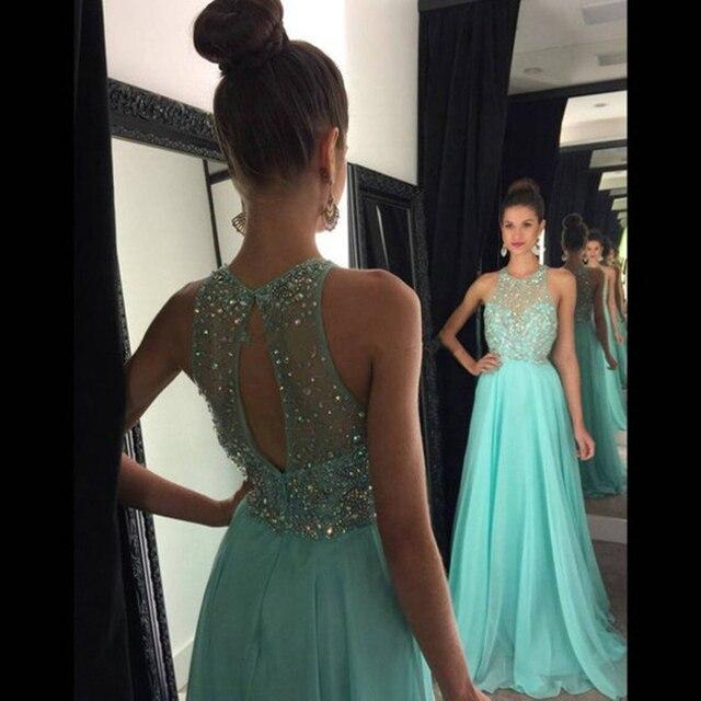 Cheap Party Dresses A line Prom Dresses Aqua Green 2017 Halter Neck ...