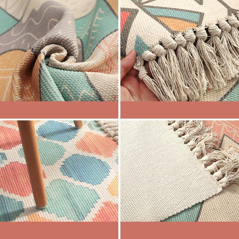 Cotton Linen Bedside Carpet Woven Mat Bedroom Runner Rug Living Room