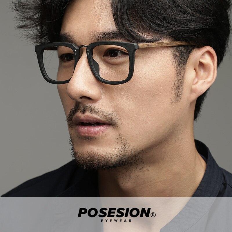 Posesion Vintage grand carré en bois hommes lunettes cadres à la main mode grand acétate lunettes de soleil en métal avec lentille claire pour les femmes