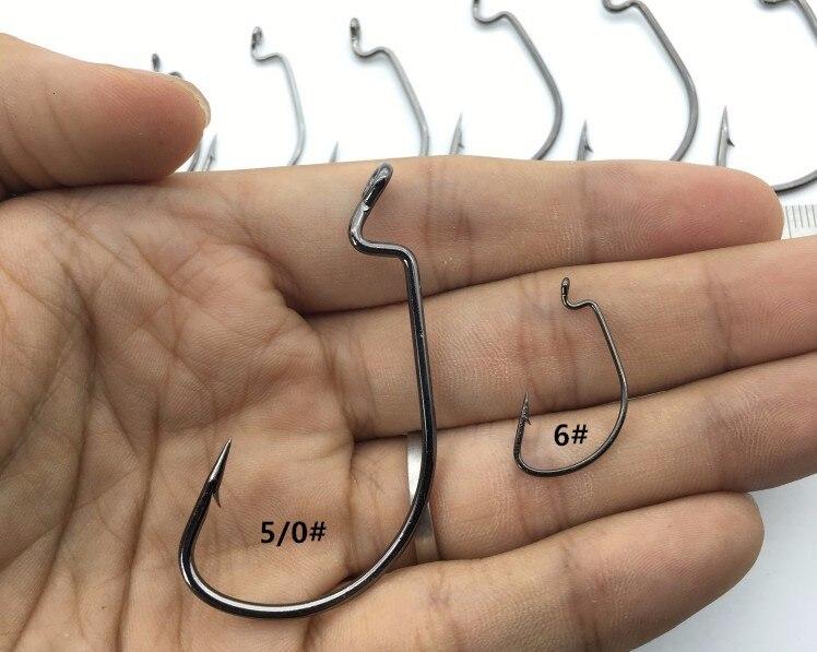 20pcs Wide Gap Worm Hook Jig Fishing Crank Hook Bass Hook for soft bait 5 Sizes
