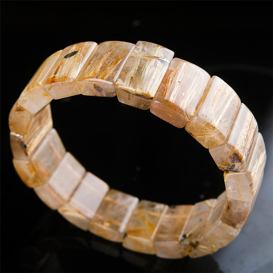 Newly Natural Golden Rutilated Quartz Bracelets For Women Men Ful Rectangle Charm Stretch Crystal Bead Bracelet Unique One In Strand From