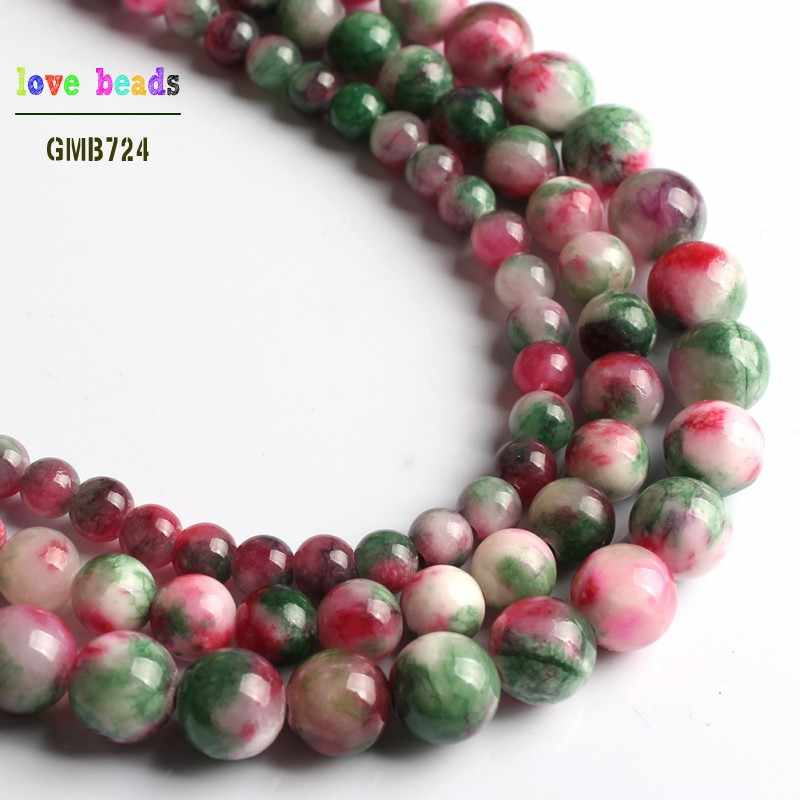 الملونة الأخضر الأحمر الأبيض سحابة Jadee جولة ستون فضفاض الخرز لصنع المجوهرات 15 ''ستراند سوار ذاتي الصنع 6 ملليمتر 8 ملليمتر 10 ملليمتر