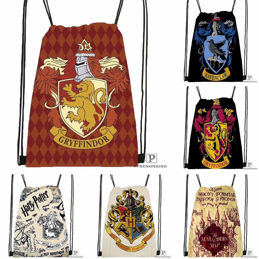 Custom Hogwarts Harry Potter Drawstring Backpack Bag Cute Daypack Kids Satchel (Black Back) 31x40cm#180531-03-21