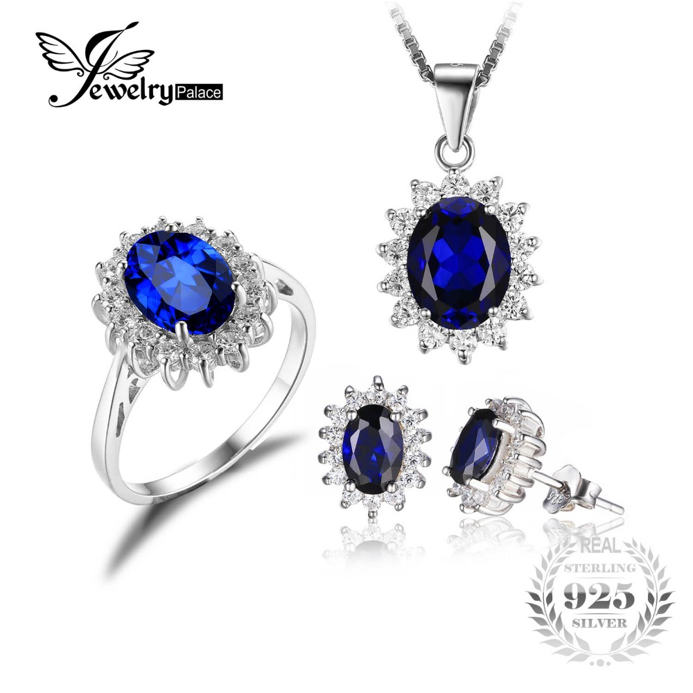 Diana William Engagement Wedding Created Sapphire Jewelry Set 925 Sterling Silver Ring Pendant Stud Earring 45cm