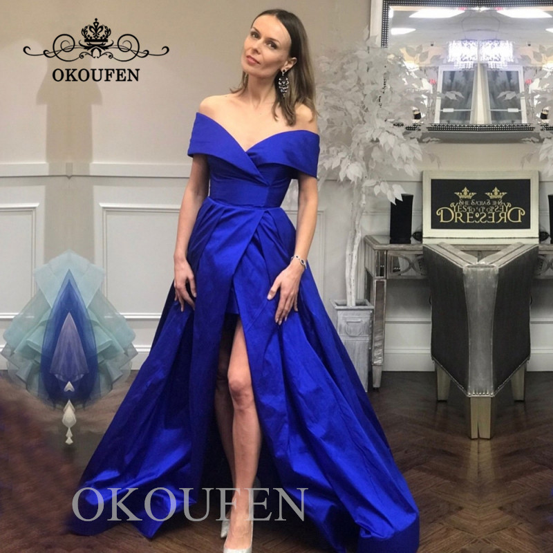 Royal Blue Satin   Bridesmaid     Dresses   For Women 2019 Off Shoulder Front Split A Line Long Maid Of Honor   Dress   Party Formal