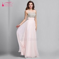 Birthday Dài Prom Dress Pha Lê Voan Hồng Formal Evening Gown Dress Dài Thanh Lịch đảng Dress Gown Ed20029