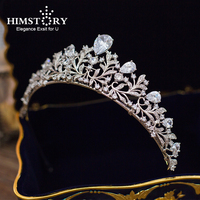 Himstory Full Zircon Cubic Bride Tiaras Crown Diadem Mariage Wedding Hair Accessories Prom Party Festival Birthday Woman Jewelry
