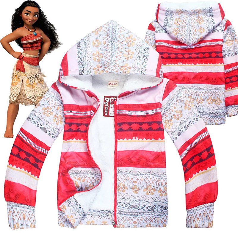 Kids Girls Hallaoween Moana Vaiana Costume Red Fleece Sweatshirt Coat Winter Fancy Hoodie Jacket Outfit For Children 4-12T