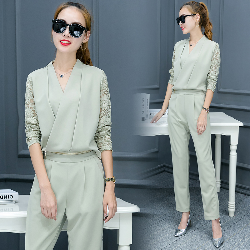 Fashionable Women V Neck Shirt Pants Suit New 2016 Autumn Korean - Women's Clothing - Photo 3