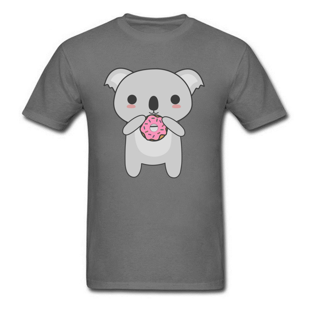 Tops Tees Sweatshirts Kawaii Koala Eating A Donut Summer/Autumn Short Sleeve Cotton Fabric Crew Neck Mens T-Shirt Comics New Kawaii Koala Eating A Donut carbon