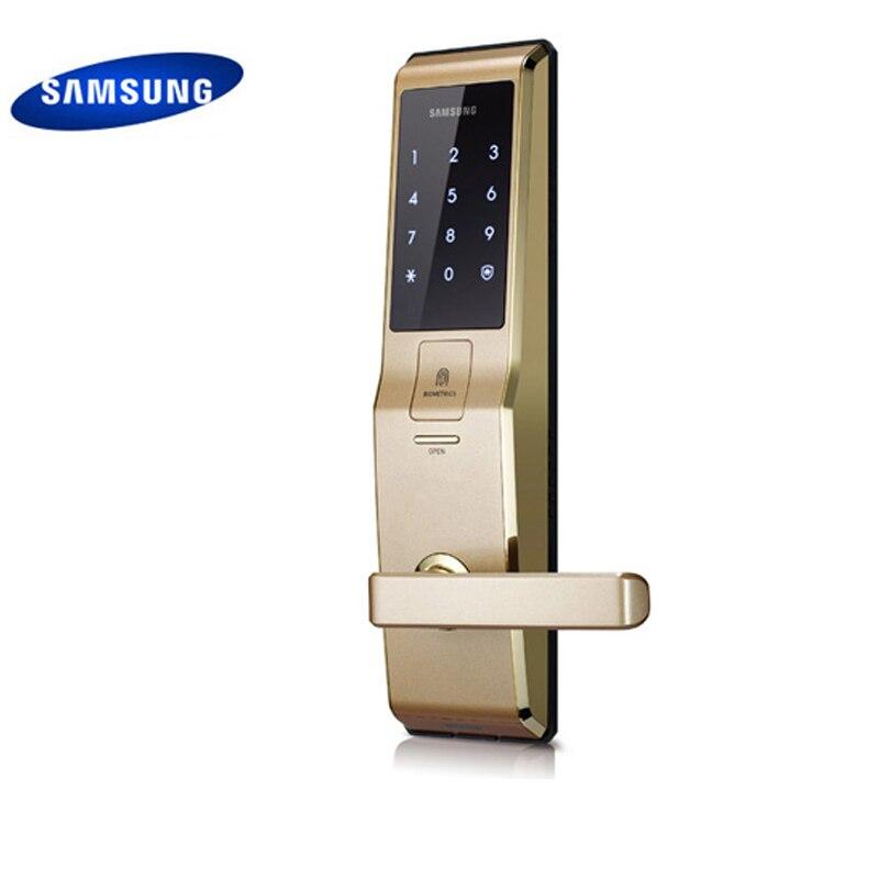 Английская версия большой врезной золото Цвет Samsung отпечатков пальцев цифровой замок shs h705 (отпечатков пальцев + пароль + ключ)