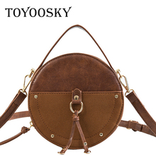 TOYOOSKY Vintage Scrub Leather Round Designer Crossbody Bag For Women Circle Shoulder Bags Ladies Small Handbags Mini Tote