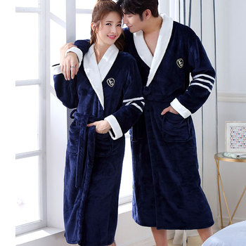 Thicken Warm Couple Style Flannel Robe Winter Long Sleeve Bathrobe Sexy V-Neck Women Men Nightgown Lounge Sleepwear Home Clothes 2