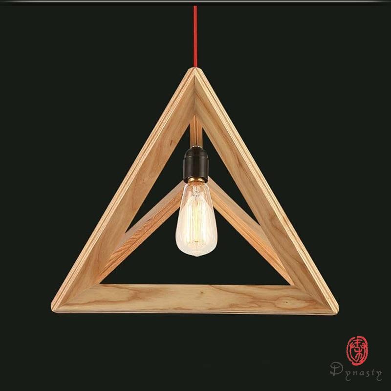 Triangle Oak Pendant Light Art Decorative Wooden Hanging Lamp LED Southeast Asia Style Restaurant Cafe Foyer Fixture Dynasty southeast asia style hand knitting bamboo art pendant lights modern rural e27 led lamp for porch