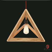 Triangle Oak Pendant Light Art Decorative Wooden Hanging Lamp LED Southeast Asia Style Restaurant Cafe Foyer Fixture Dynasty цена 2017