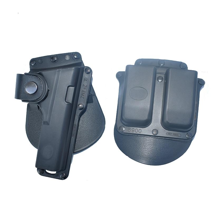 Táctico pistola pádel pistolera encaja Glock G17 G22 G23 W/correa de cuero de retención con doble revista 6900