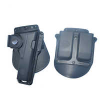 Tactical Gun Paddle Holster Fits Glock G17 G22 G23 W/Leather Strap Retention with Double Magazine 6900