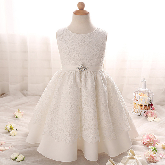 Summer Princess Dress Sleeveless Lace Girls Clothes Kids Dresses 7-24M Girls Crew Neck Floral Baby Girl Dress vestido infantil