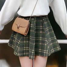 Harajuku Lattice Skirt Women 2018 Autumn and Winter New Retro High Waist  Stretch Skirt Loose Woolen Female  2388 115d6df60b40