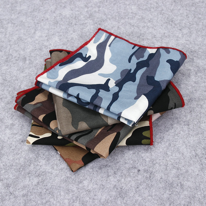 2018 Luxury Brand New Style Men's Hankerchief Scarves Vintage Cotton Hankies For Man Pocket Square Camouflage Print Hanky Towel