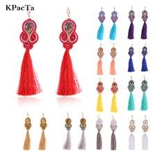 KPacTa Fashion Soutache Handmade Long Tassel Earring Ethnic Jewelry Women Crystal Popular Accessories Drop Oorbellen