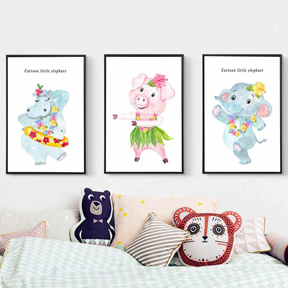 Berçário porco elefante dos desenhos animados arte poster animais impressão em tela imagem estilo nórdico pintura decorativa para crianças decoração do quarto
