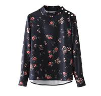 Vintage Beading Pearl Floral Shirts Pleated Long Sleeves Stand Collar Blouse Retro Ladies Autumn Chic Tops
