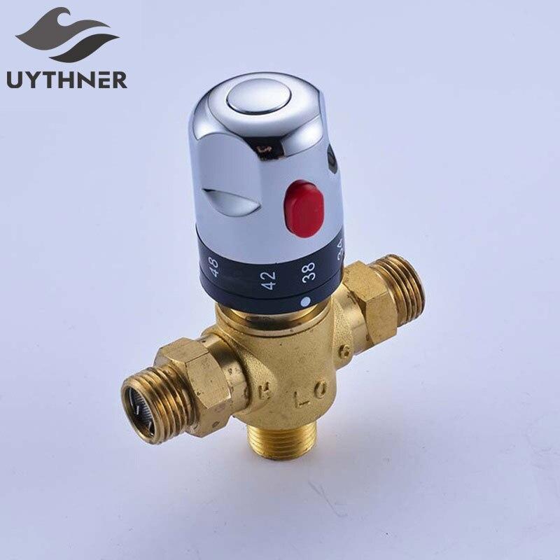Uythner Padrão Mistura de Água de Controle Termostática 1/2 Cartucho Cerâmico Da Torneira Acessórios Do Banheiro Da Válvula de controle de Temperatura
