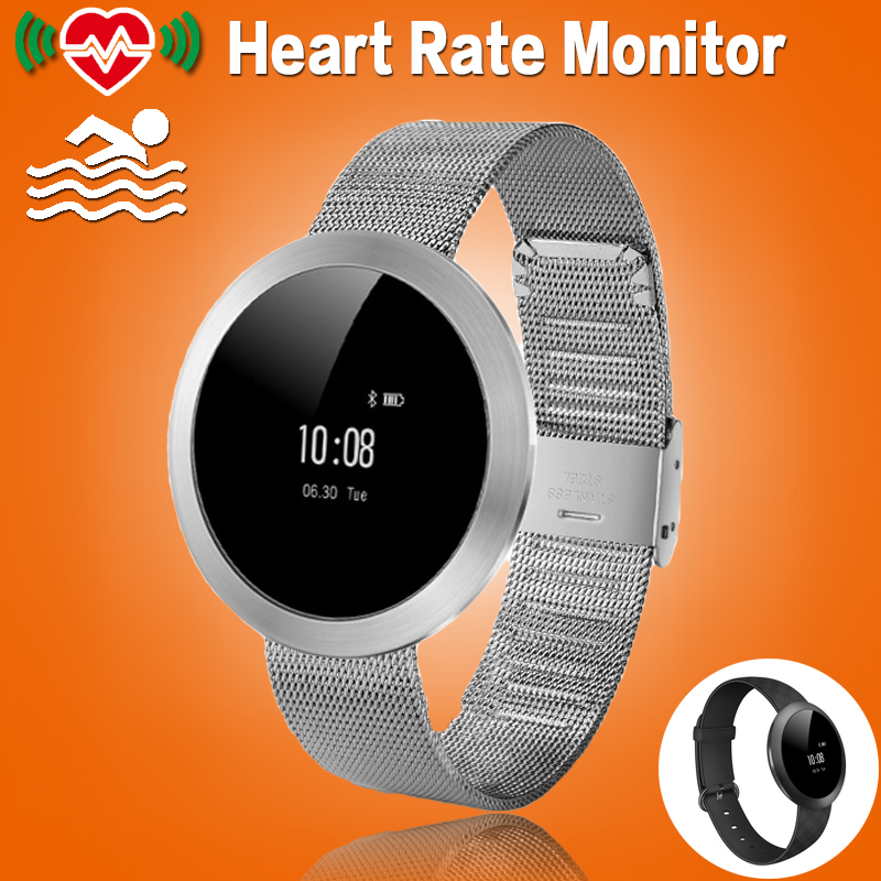 Women Round Heart Rate Monitor Swim Smart Fitness Bracelet Band Smart Wristband Pedometer Fitness Tracker For