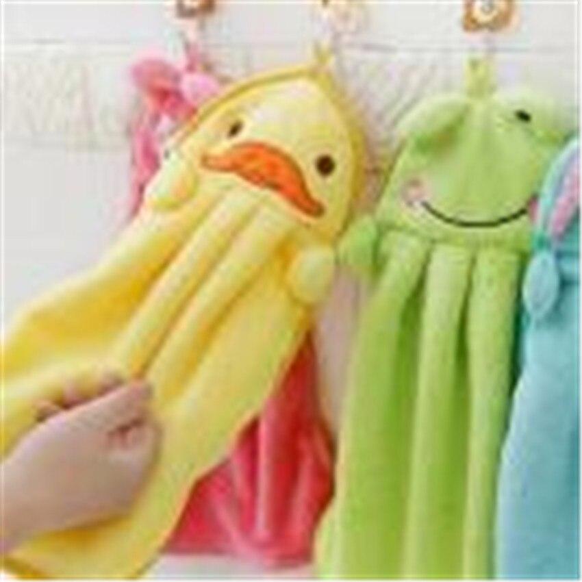 2018 Hand Towel baby bath towels delicate fluffy towels Plush Cartoon Animal Wipe Hanging Bathing Towel Bathroom #0527