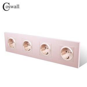 Image 3 - Coswall 4 Gang Stopcontact Geaard 16A Eu Standaard Quadruple Outlet Met Kinderpark Beschermende Deur Pc Panel