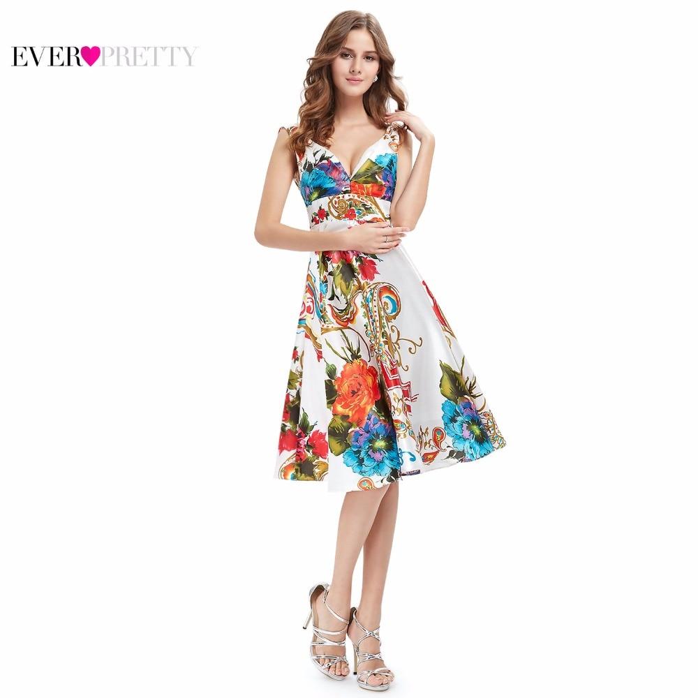 קוקטייל שמלות אי פעם די EP03381 2018 חדש ילדה הכפול V-צוואר פרחוני הדפסת סאטן קיץ שמלת קוקטייל שמלות
