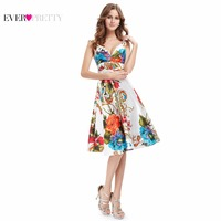 03381 Ever Pretty 2014 New Girl S Double V Neck Floral Printed Satin Cocktail Dresses Party