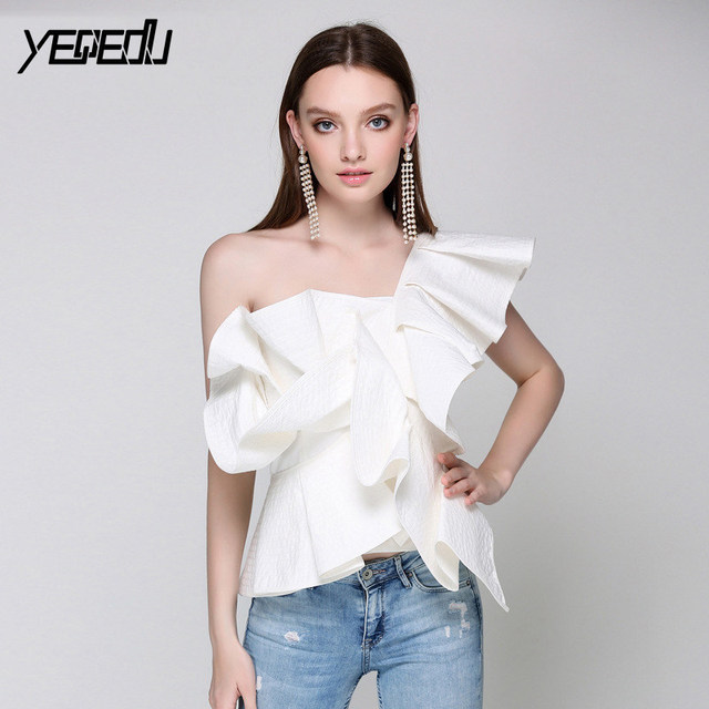 a13ce340c4009  2710 One Off Shoulder Sexy Office Lady Sleeveless Blouse women Irregular  Backless Slim Ruffles blouse Elastic waist Summer 2018