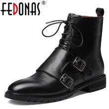 FEDONAS Kwaliteit Echt Leer Koe Lakleer Vrouwen Enkellaars Lace Up Hoge Hakken Vrouwelijke Partij Schoenen Vrouw Korte Laarzen