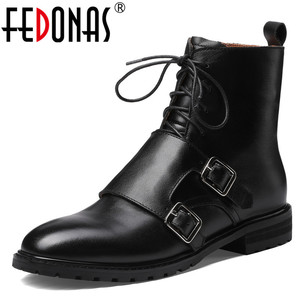 Image 1 - FEDONAS Quality Genuine Leather Cow Patent Leather Women Ankle Boots Lace Up High Heels Female Party Shoes Woman Short Boots