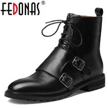 FEDONAS qualité cuir véritable vache cuir verni femmes bottines à lacets talons hauts femmes chaussures de fête femme bottes courtes