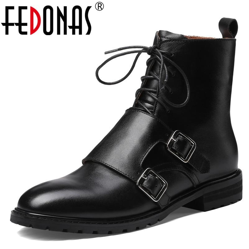 Fedonas 품질 정품 가죽 암소 특허 가죽 여성 발목 부츠 하이힐 레이스 여성 파티 신발 여성 짧은 부츠-에서앵클 부츠부터 신발 의  그룹 1