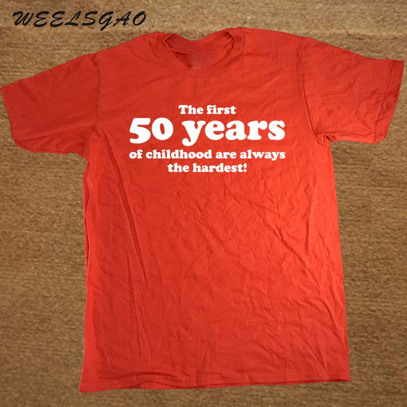 50 YEARS OF CHILDHOOD T SHIRT FUNNY MENS SLOGAN GIFT 50TH BIRTHDAY