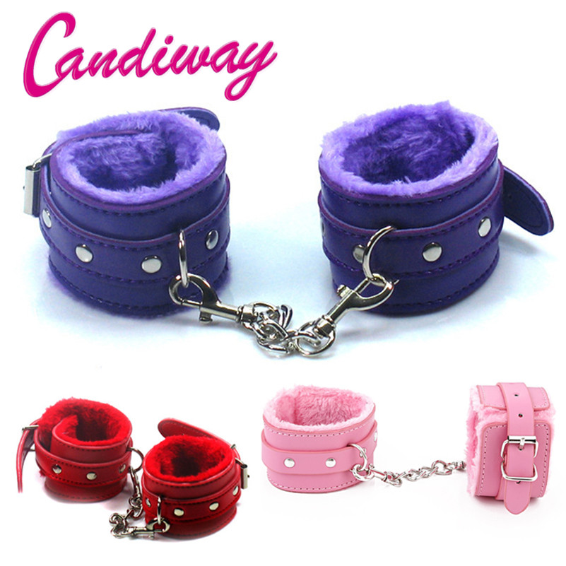 Flirt Toy Handcuffs Leather Furry Comfortable Restraints Soft Bondage Tools Flirting Tool For Beginners Sex Toys For Couple