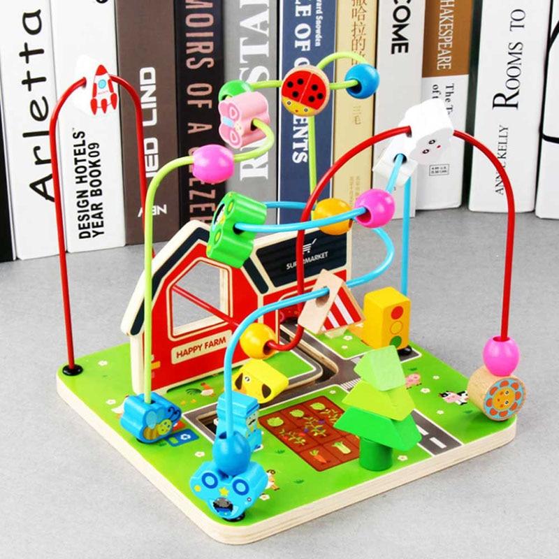 Décor De Ferme En Bois Perles Rondes Enfants Jouets Arts Et Artisanat Pour Bébé Blocs éducatifs Jouets Arbre Perlé Jouet Pour Enfants Cadeaux
