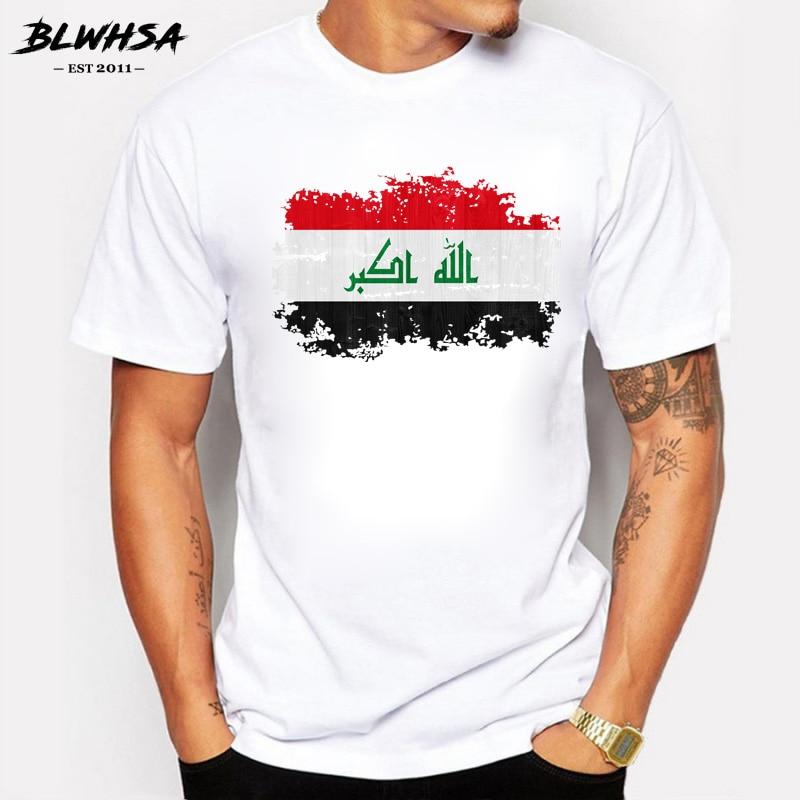 BLWHSA New Summer Iraq Flag Men T Shirt 100% Cotton T-Shirts Iraq Nation Flag Nostalgic Style Tops Tees Camisa Masculina